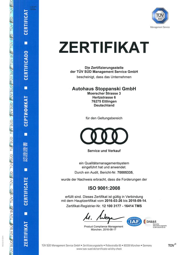 ISO 9001:2008 Zertifikat Stoppanski Audi